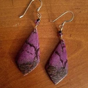 Purple jasper gemstone earrings